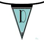 Manhattan 1920s Deco Blues Banner… Monogram letter initial D by CecelyBloom