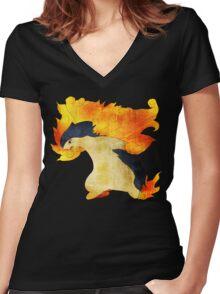 Typhlosion- The Volcano Pokemon Women's Fitted V-Neck T-Shirt