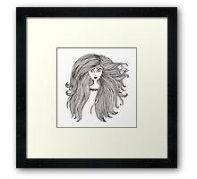 Girl with long beautiful hair Framed Print