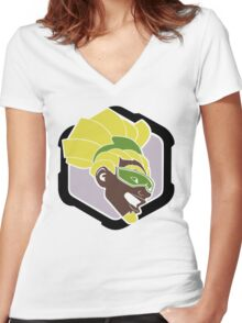 OVERWATCH LUCIO Women's Fitted V-Neck T-Shirt