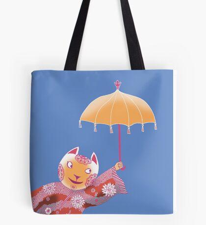 Magic Cat with Parasol Tote Bag
