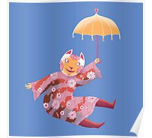 Magic Cat with Parasol Poster