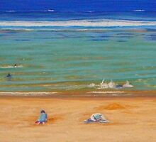 A Day at the Beach, Bar Beach, NSW, Australia by Carole Elliott