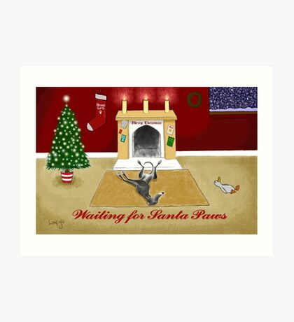 Waiting For Santa Paws Art Print