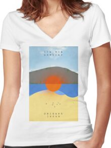 STN MTN Modified Text Women's Fitted V-Neck T-Shirt