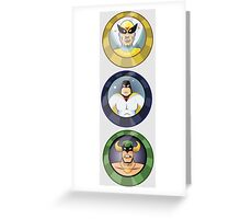 Birdman, Space Ghost & Mighty Mightor Greeting Card
