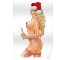 Christmas santa candy Sexy teen girl Curvy beautiful body Stunning pretty hottie Large Breasts Poster
