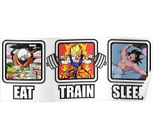 Eat, Train, Sleep (Goku Squat) Horizontal Poster