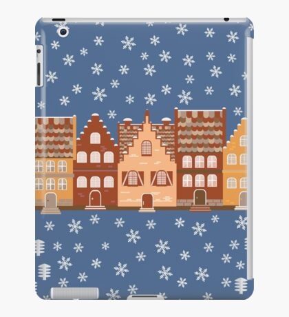 Vector illustration houses in the snow. iPad Case/Skin