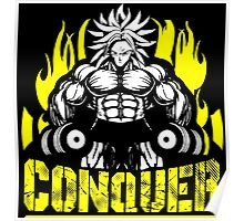 CONQUER - Broly Dumbbell Vintage Motivation Poster