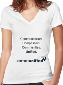 Communication. Compassion. Communities. Unified. Women's Fitted V-Neck T-Shirt