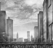 City - Chicago, IL - Looking toward the future - BW Sticker