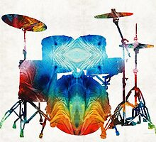 Drum Set Art - Color Fusion Drums - By Sharon Cummings  by Sharon Cummings