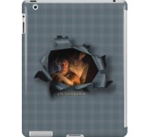 Jamie and Claire paper tear blue plaid  iPad Case/Skin