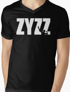Zyzz Text White Mens V-Neck T-Shirt