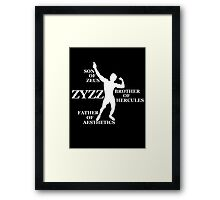 Zyzz Son of Zeus White Framed Print