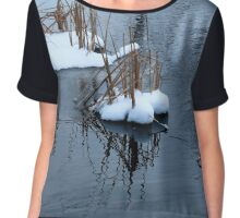cattails snow covered in pond Chiffon Top