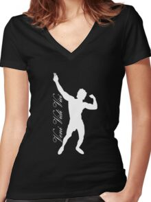 Zyzz Silhouette Veni Vidi Vici White Women's Fitted V-Neck T-Shirt