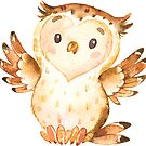 Little cute owl says hello and welcome watercolour by Sandra O'Connor