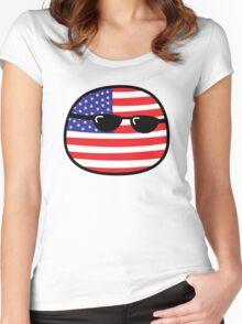 Polandball - USA Big Women's Fitted Scoop T-Shirt