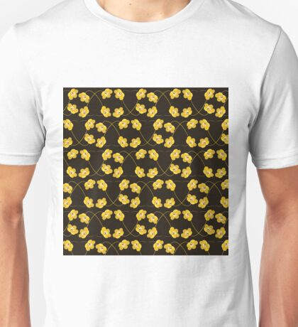 Dainty Yellow Flowers on Heart Shaped Vines Unisex T-Shirt