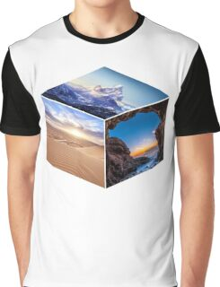 3D Landscape Cube Graphic T-Shirt