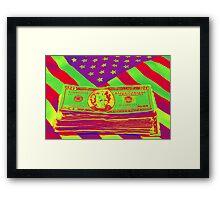 Stack of Money On American Flag Pop Art Framed Print