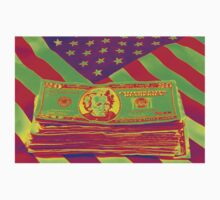 Stack of Money On American Flag Pop Art One Piece - Short Sleeve