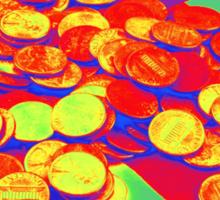 Pennies on American Flag Pop Art Sticker