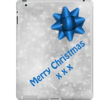 Merry Christmas Silver & Blue Gift Case iPad Case/Skin