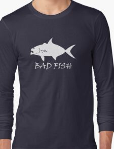 Bad Fish - Almaco Jack (White for Dark Backgrounds Only) Long Sleeve T-Shirt