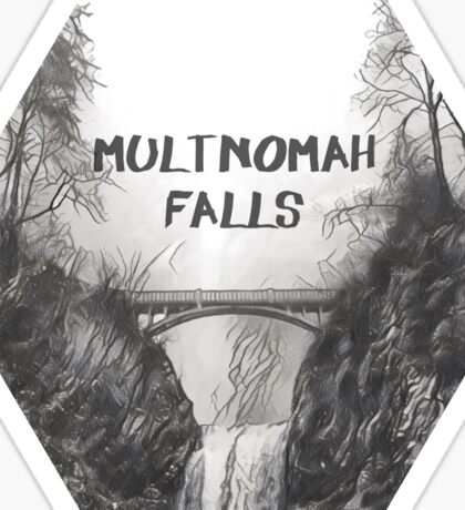 Multnomah falls B&W Sticker