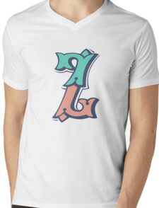 Alphabet letter Z Mens V-Neck T-Shirt