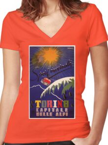 Torino Turin Alps vintage Italian winter travel ad Women's Fitted V-Neck T-Shirt