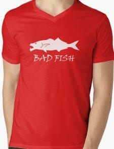 Bad Fish - Bluefish (White Image For Dark Backgrounds) Mens V-Neck T-Shirt