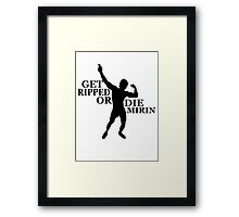 Zyzz Get Ripped or Die Mirin Black Framed Print
