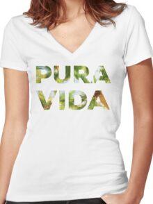 Pura Vida Costa Rica Palm Trees Women's Fitted V-Neck T-Shirt