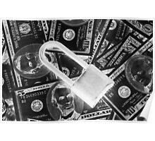 Black and White Padlock On Pile Of American Money Poster