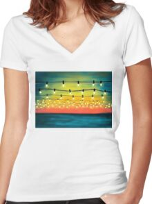 Lights In The Sky Women's Fitted V-Neck T-Shirt