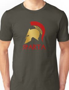 Gold and Red Spartan Helmet Unisex T-Shirt