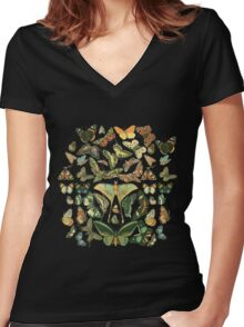 Butterfly Pattern Women's Fitted V-Neck T-Shirt