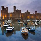 Wales- Caernarfon Castle Sunset by Angie Latham
