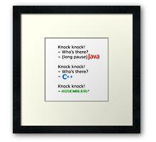 knock knock java c++ assembler Framed Print