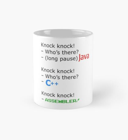 knock knock java c++ assembler Mug