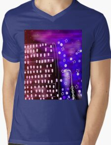 City Lights Mens V-Neck T-Shirt