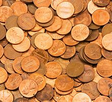 Pile of American pennies by KWJphotoart