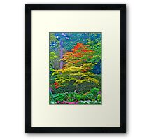 Fall Tree & Flowers, Butchart Gardens, BC Framed Print