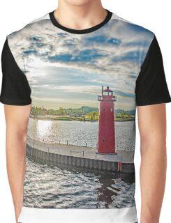 Lake Michigan Light House Graphic T-Shirt