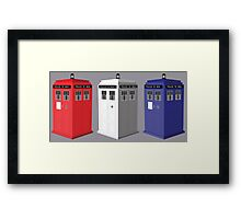 Whovian red, white and blue Framed Print