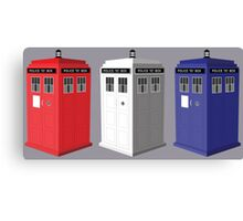 Whovian red, white and blue Canvas Print